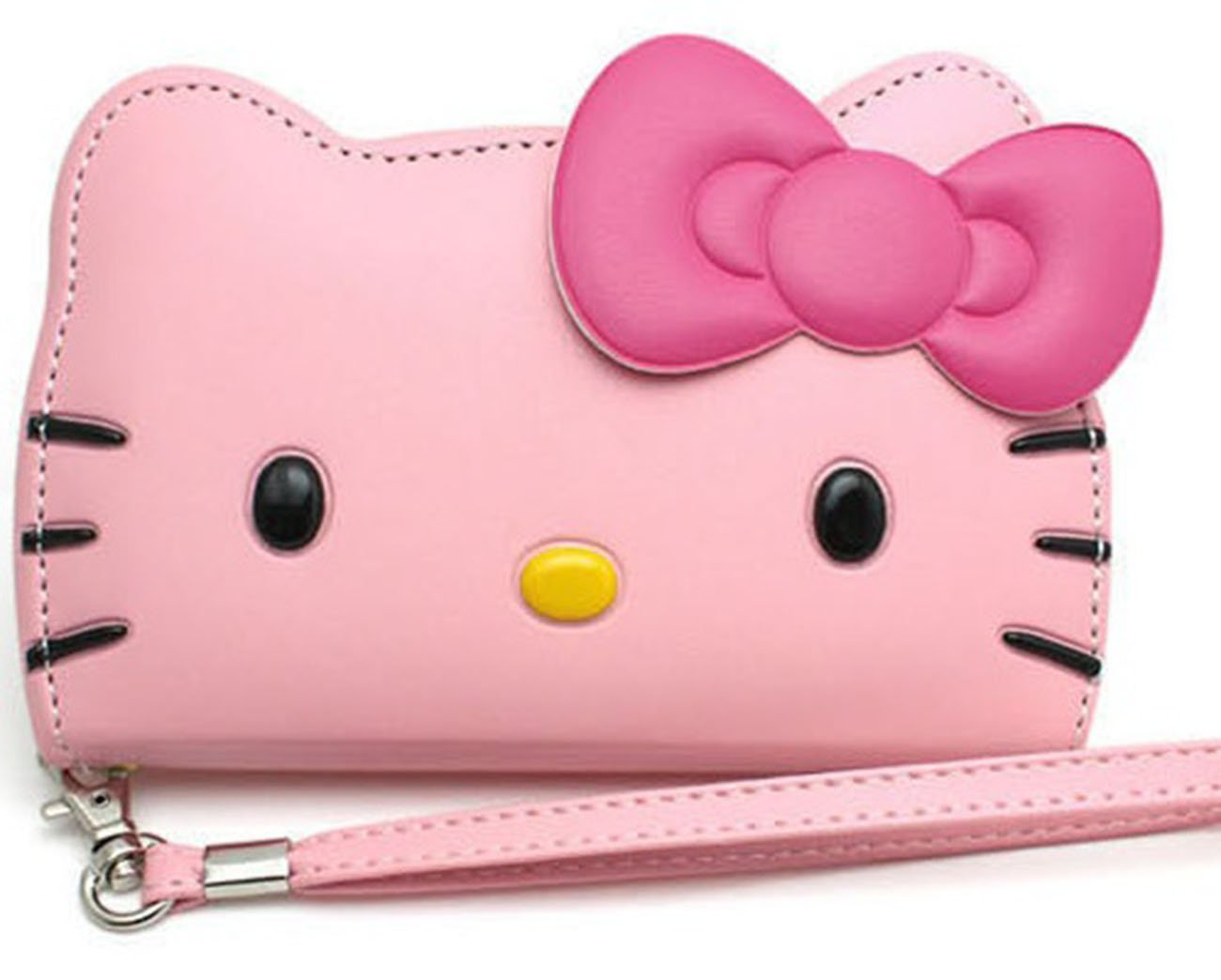iPhone 5S Case Wallet, Hello Kitty 3D Wallet Case iPhone 5S 5 Screen Protector - Baby Pink