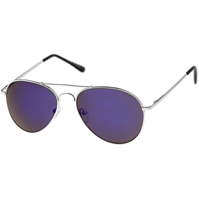 56176873c zeroUV - Premium Full Mirrored Aviator Sunglasses w/Flash Mirror Lens  (Silver/Blue