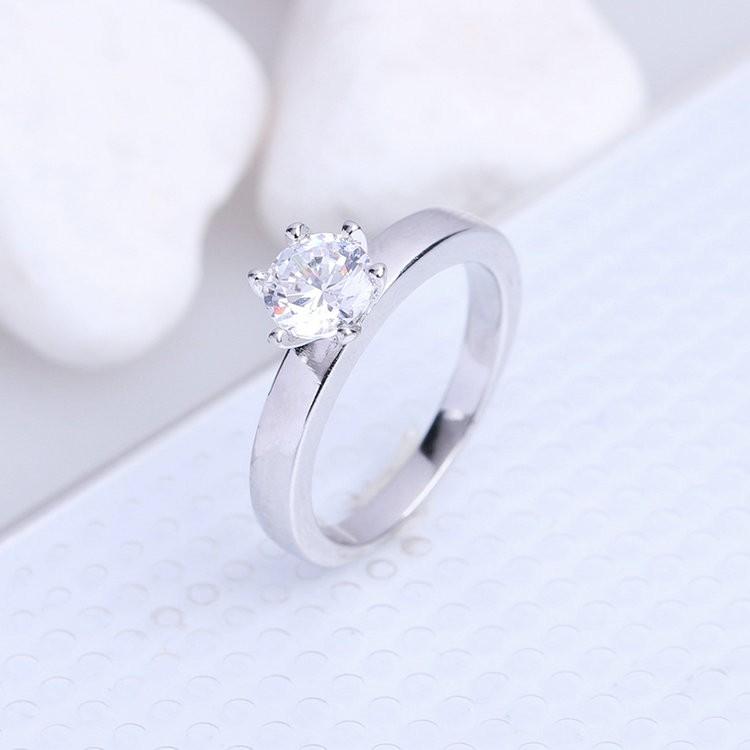 Jenia Single Cubic Zirconia 18 White Gold Plated Engagement Wedding Rings Sim