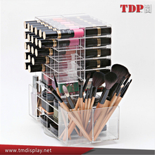spinning makeup organizer clear rotating acrylic lipstick holder