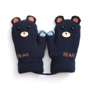 Children Winter New Knitted Mitten Cute Cartoon Bear Embroidery Red Acrylic Kids Mittens