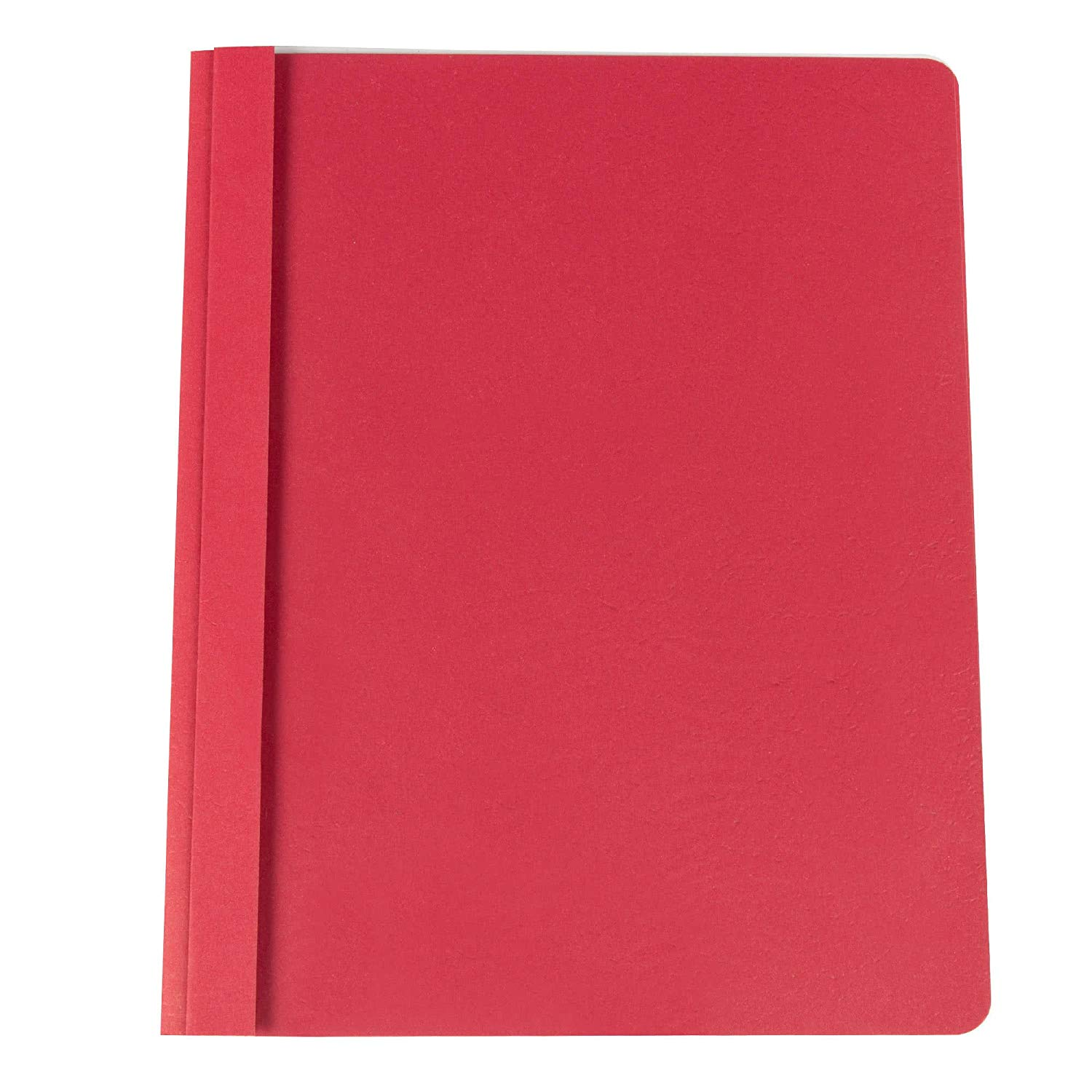 "TableTop King Office UNV57123 11"" x 8 1/2"" Red Leatherette Embossed Paper Report Cover with Clear Cover and Prong Fasteners, Letter - 25/Box"
