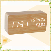 2016 new arrival wooden digital alarm clock with temperature week date function