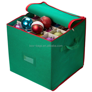 Nonwoven Christmas Ornament Storage Box, Stores up to 64 Holiday Ornaments Foldable Storage Bag