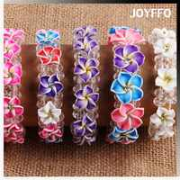 3GH-002 Braided Beaded Polymer Clay Flower Bangles Fimo Elastic Bracelet