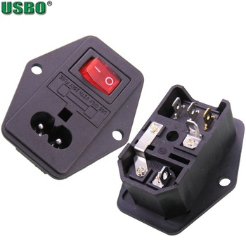 2 Pin AC Male Inlet Plug Socket IEC320 C8 Fuse Holder Panel Embed With Rocker Switch