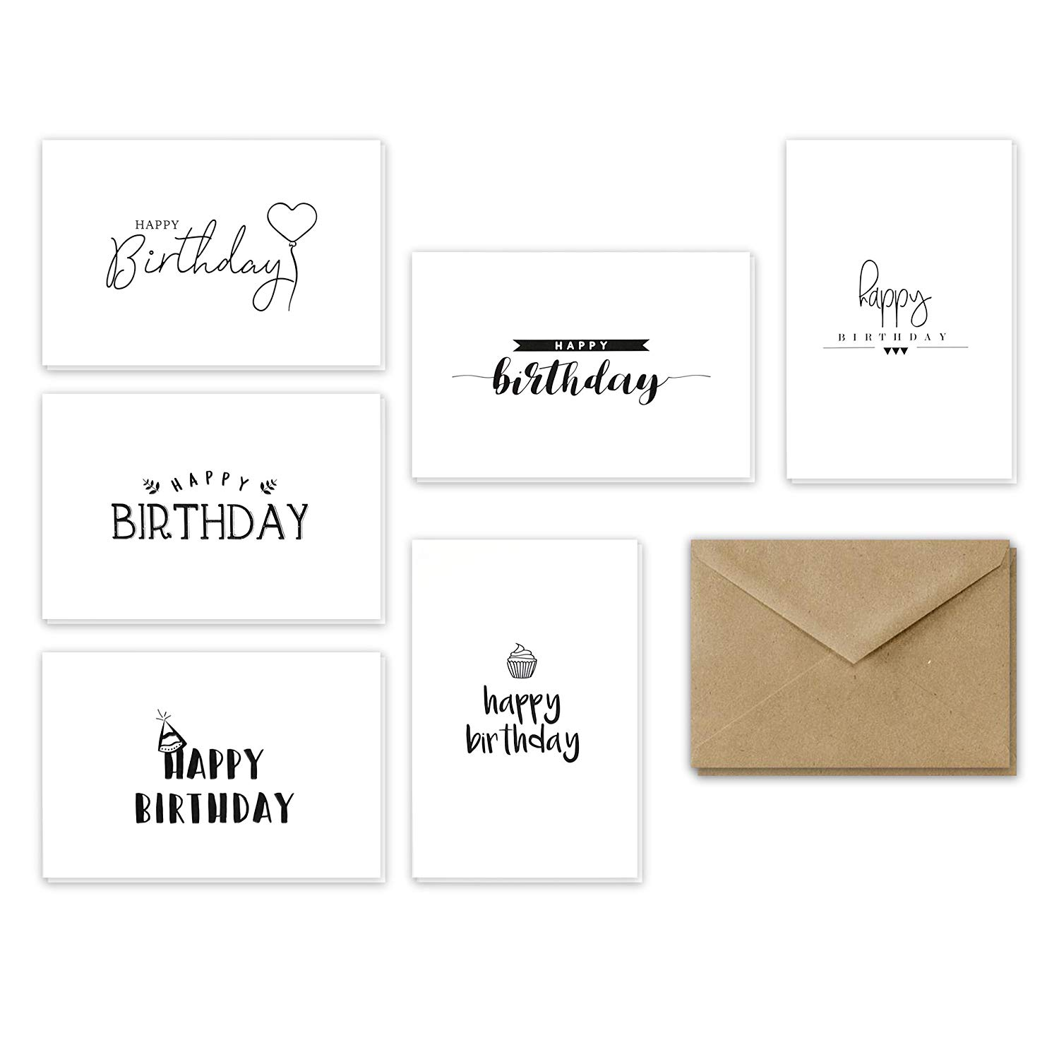 Get Quotations Happy Birthday Greeting Cards Handwritten Assortment 4x6 Inches Assorted