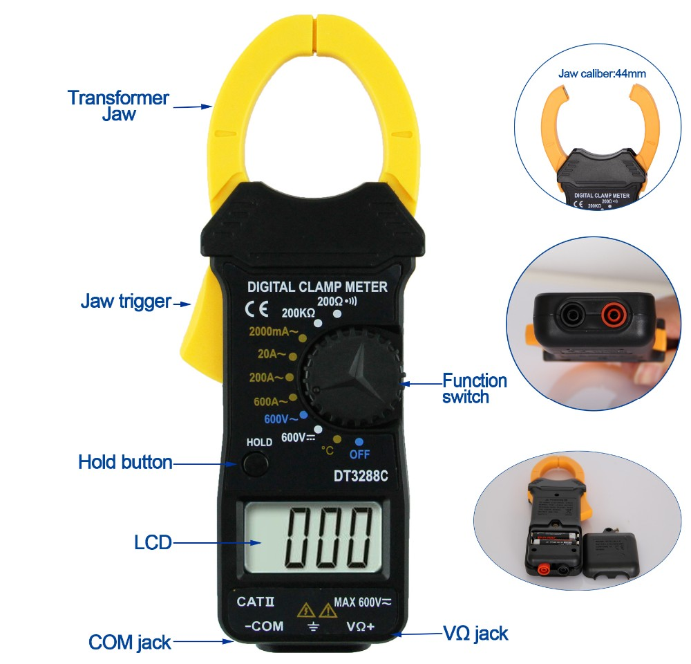 Digital Clamp Meter with Temperature DT3288C