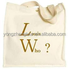 Natural color cotton shopping bag with gold print for sales