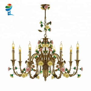 Home decor flower chandelier made of brass ceramics gold pendant light