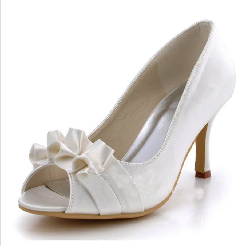 2a3035e25af2 Get Quotations · 2015 Luxury Satin Bridal Shoes Peep Toe High Heel Banquet  Shoes White Wedding Dress Shoes