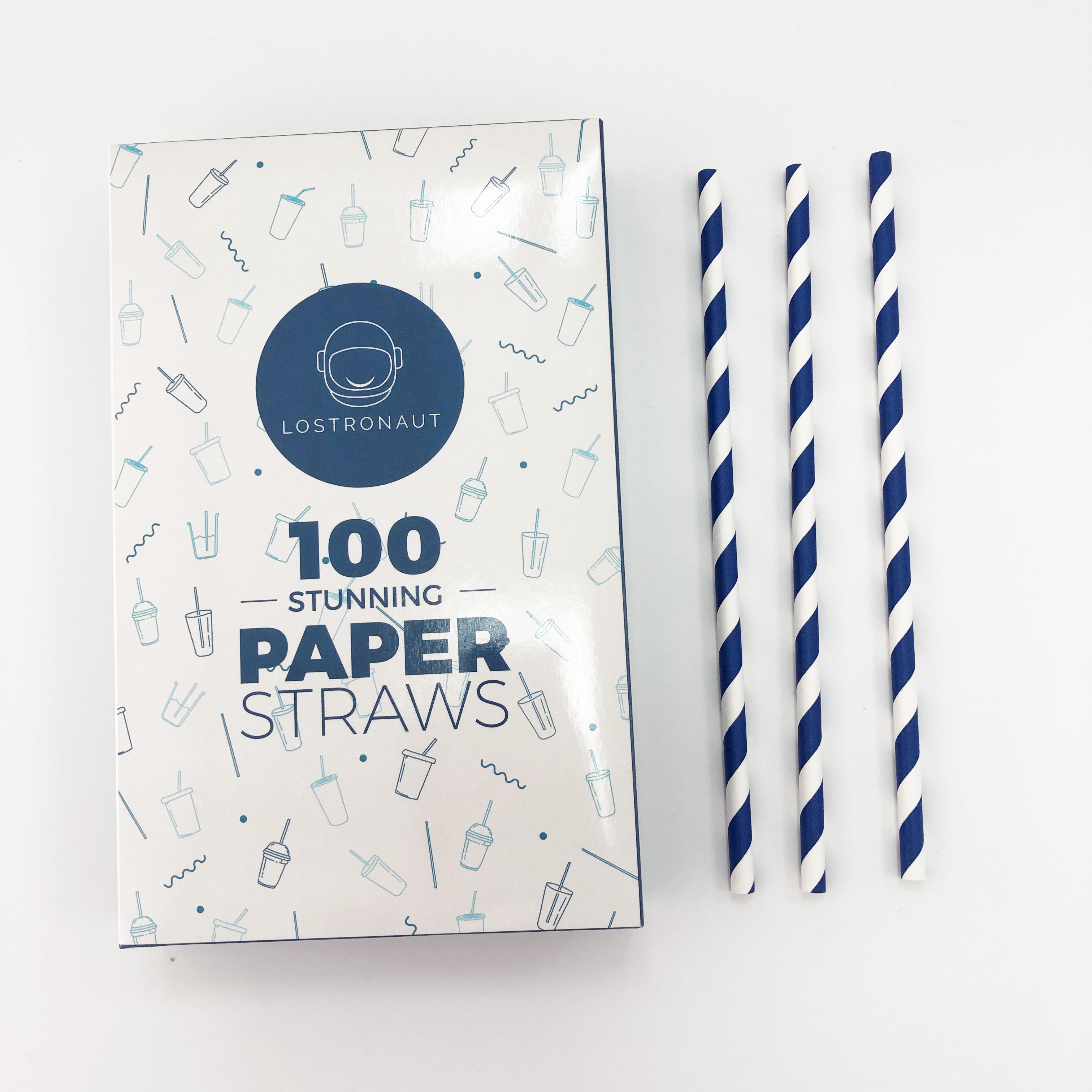 Eco amigable reciclable reutilizable Venta caliente azul marino a rayas envuelto desechable biodegradable de paja de papel