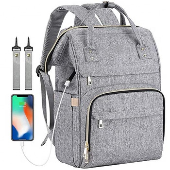 Multi-function polyester anti-water insulated pocket diaper nappy backpack with USB charging