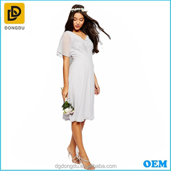 Light Grey Chiffon A-line Knee Length Wedding Dress Bridesmaid\'s ...