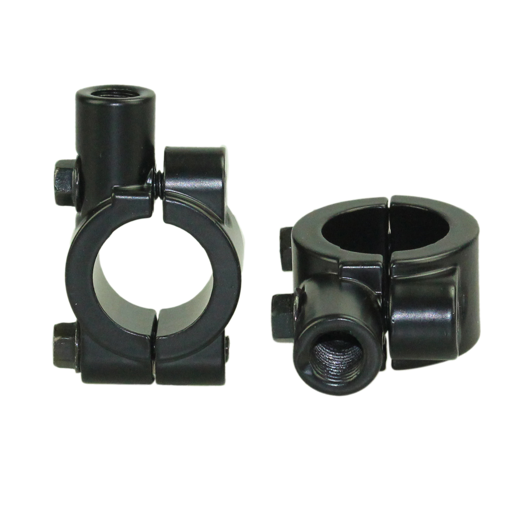"10MM 7/8"" UNIVERSAL BLACK MOTORCYCLE HANDLEBAR MIRROR MOUNT ALUMINUM CLAMP"