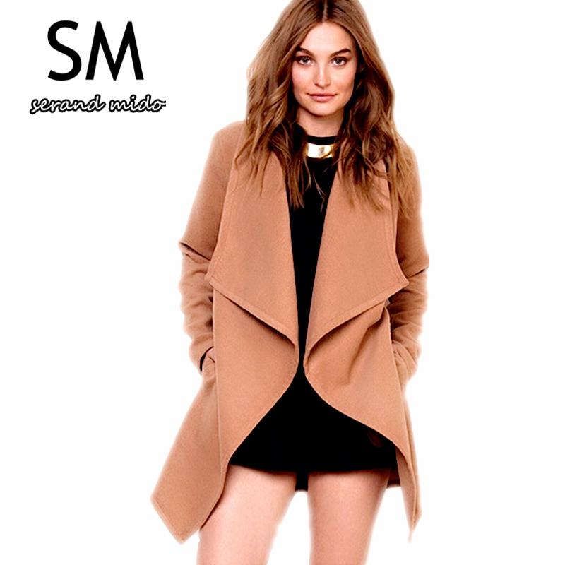 c0faa202f82 Get Quotations · 2015 New solid Design Winter coat women camel wool coat  with belt Trench Warm Women s coat
