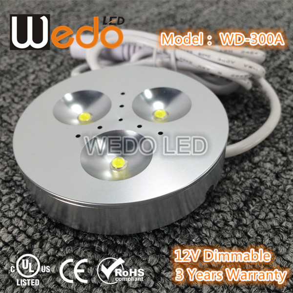 UL list 12v dimmable led puck light 3w Surface/Recessed Mounted