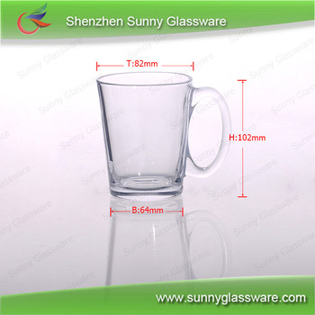 280ml Clear Glass Mug with Handle for Water or Drink
