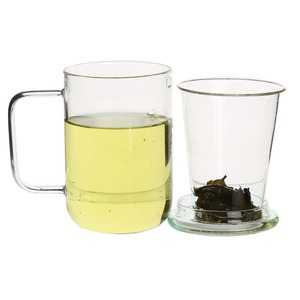 Office Glass Tea Cups/ Mugs with Glass Strainer/ Filter/ Infuser and Stainless Steel Lid on Sale Free Samples