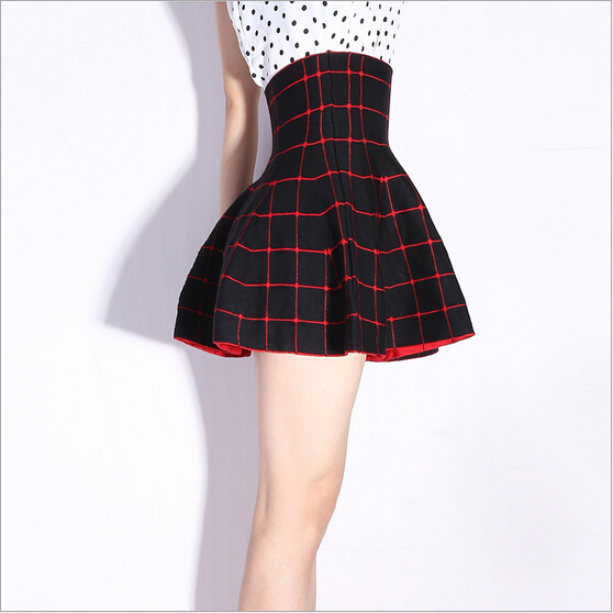 82bec3d3aaf0 Get Quotations · Korea all-match autumn winter elastic high waist double  sided knitting red women's skirts plaid