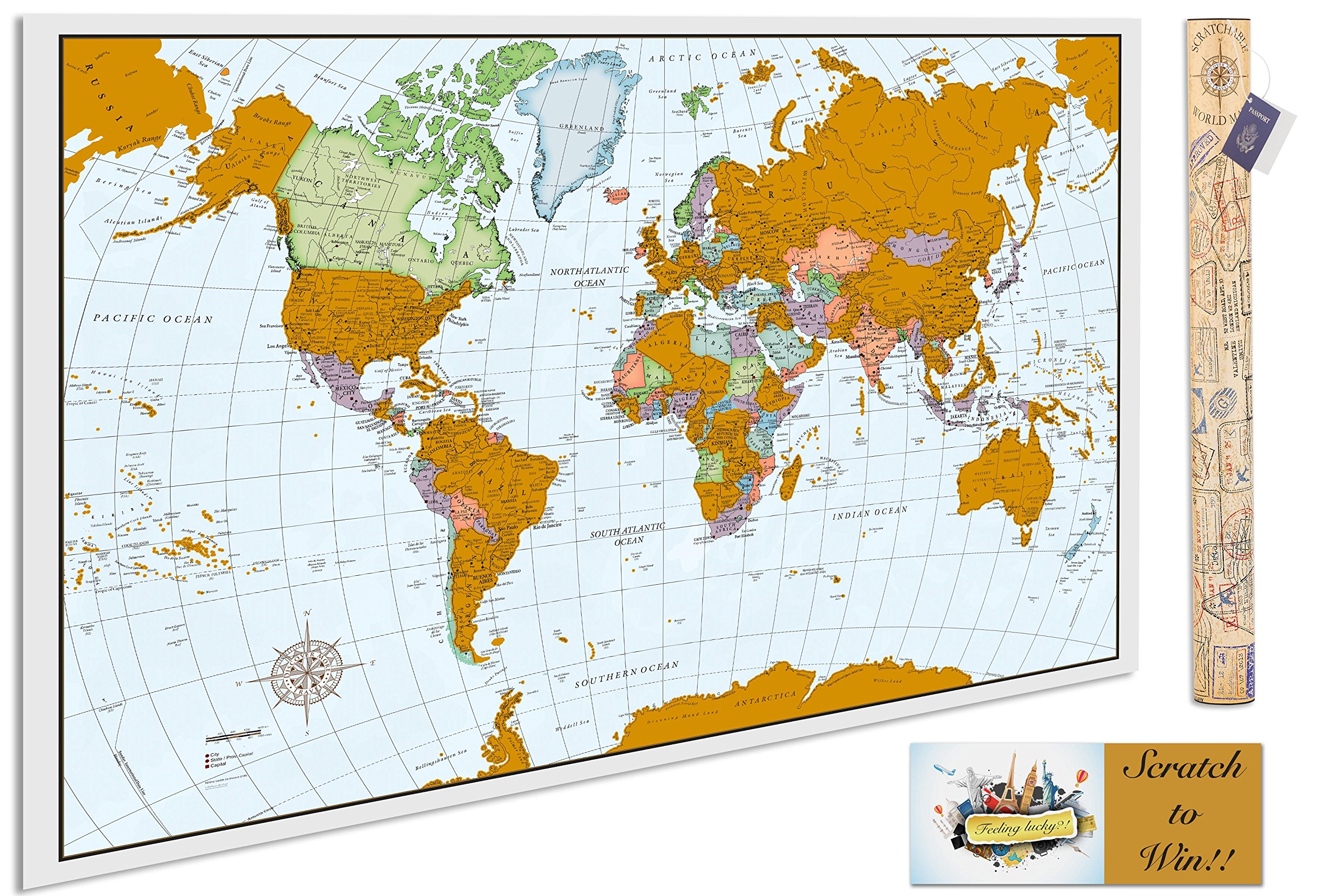 Scratchable Poster Map - A Scratch Off World Map That Tracks Your Travels! Vibrant Colors, Detailed Cartography & Cutting Edge Foil Technology. The Perfect Gift For People Who Love To Travel!