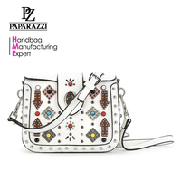 8465 colorful pearls and patchwork decoration handbag women usuage studs cross body bag new arrival for 2018