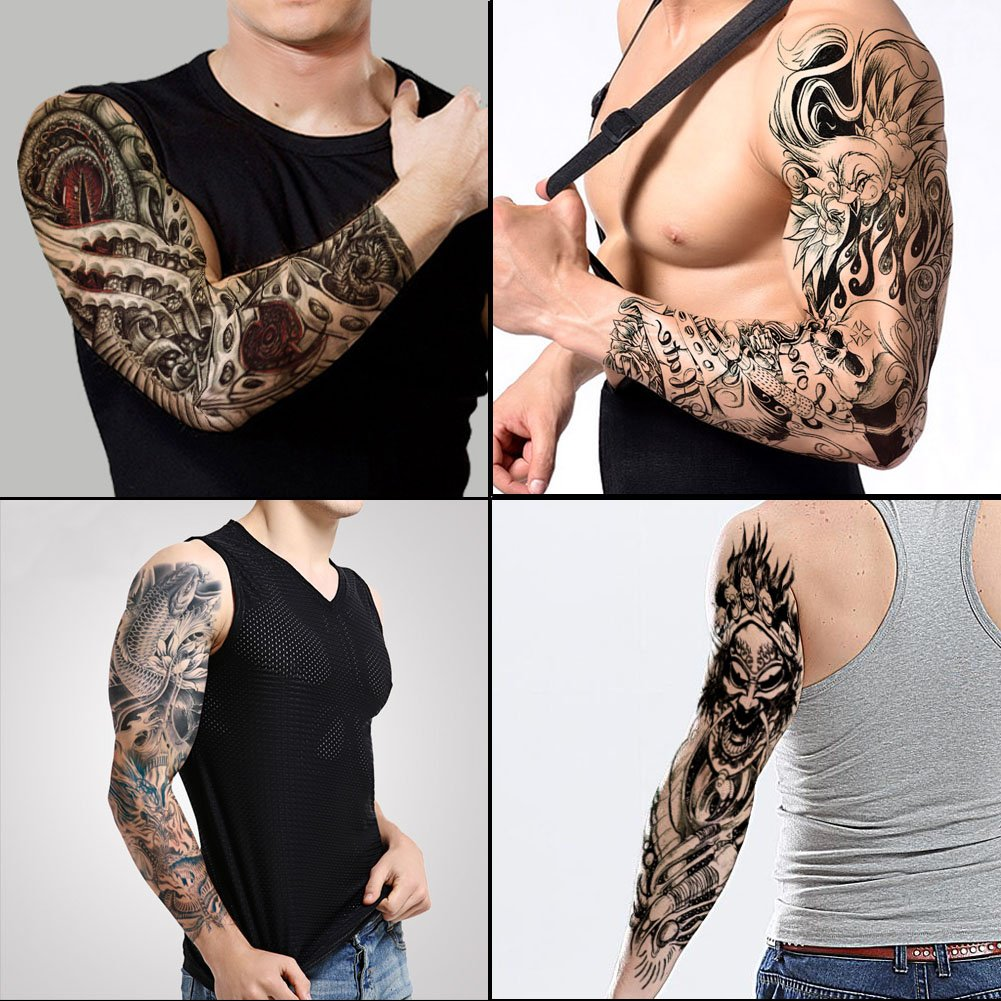 4942889cd2ca3 Get Quotations · TAFLY Full Arm Tattoos Sticker Large Shoulder Fake Tattoos  Sleeve for Man Death Skull 4 Sheets