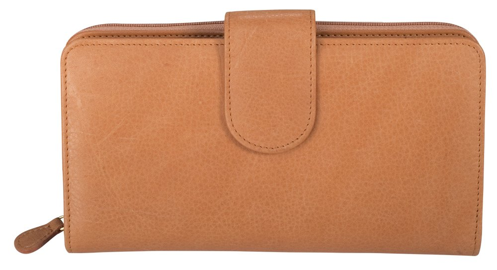 Coupon Organizer Wallet - Leather - Checkbook, Credit Cards, Cash, Coins & Coupons all in one place! (Tan)