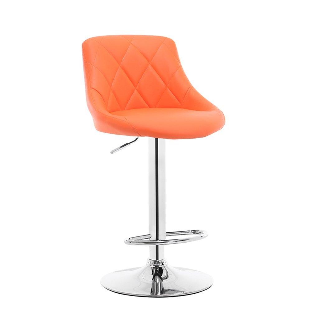 Liftable Bar Chairs, Front Desk Chair Bar Counter Stool Backrest Chair Studio Club House Leisure Chair High Foot Bar Stool Coffee Shop Chair Business Hall Chair 60-80cm ( Color : Orange )