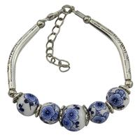 Vintage blue and white porcelain bracelet ceramic bracelet with alloy bend Pure manual bracelet A undertakes to
