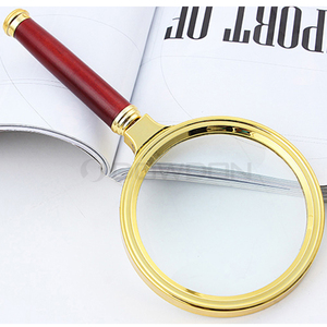 10X Max 5X Mini 3X Hardness 9H Golden Frame Magnifier Glass with Grip