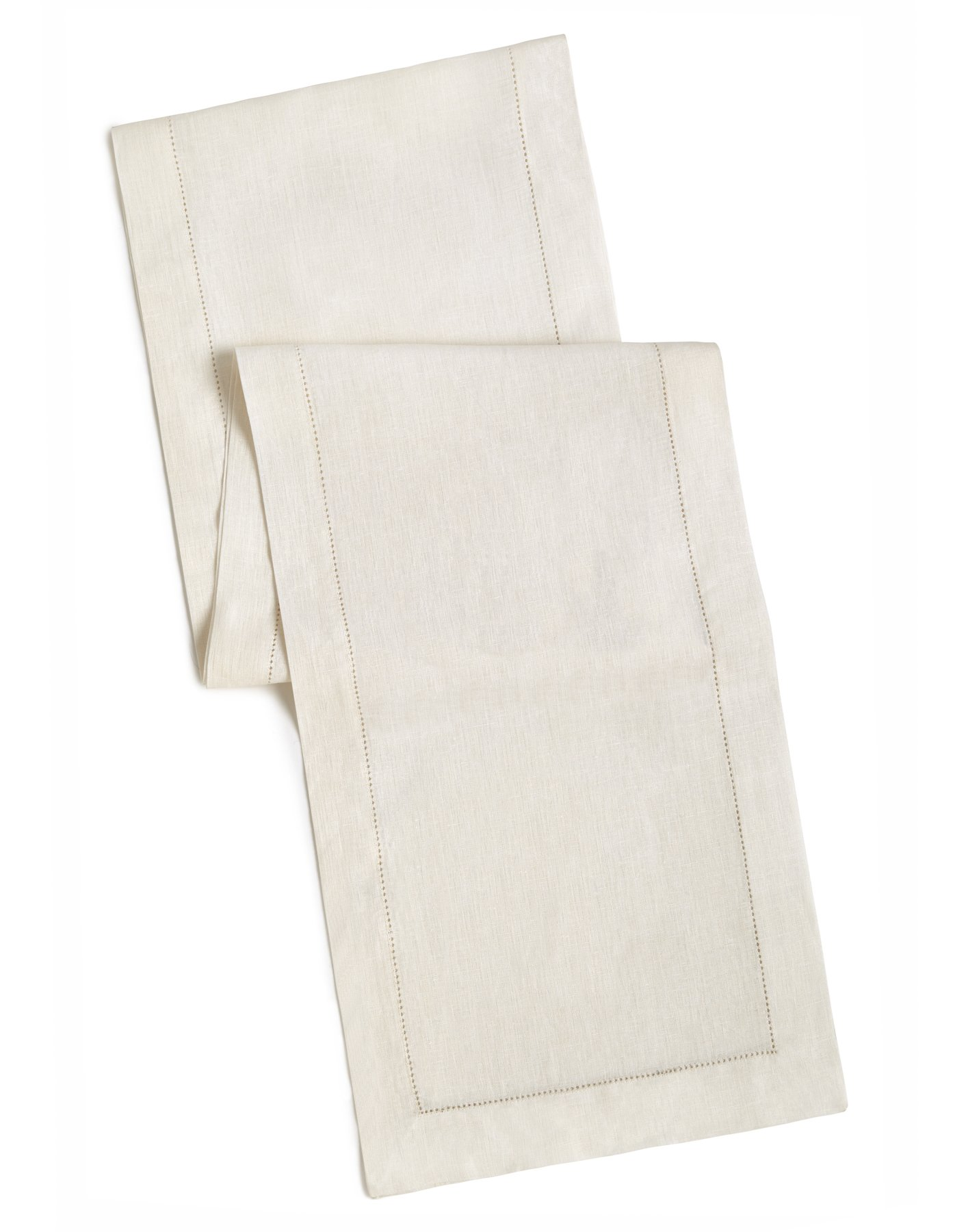 100% Linen Hemstitch Table Runner - Size 16x90 Ivory - Hand Crafted and Hand Stitched Table Runner with Hemstitch detailing. The pure Linen fabric works well in both casual and formal settings
