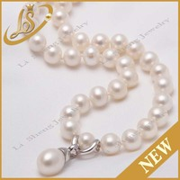 Silver clasp 5.0-10mm round cheap pearl necklace