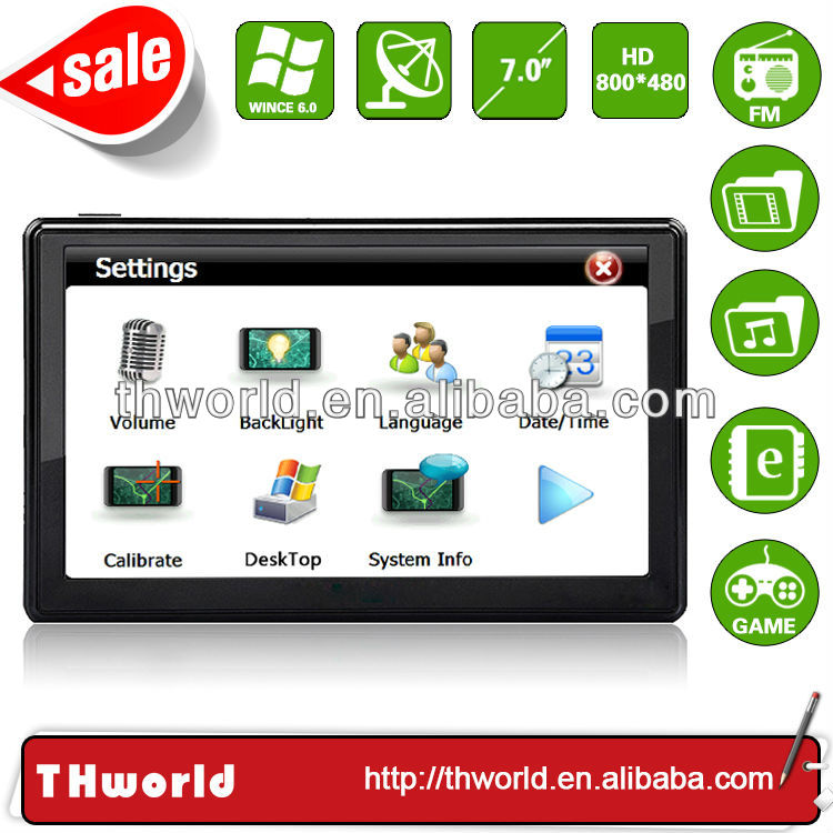 2014 new sale big screen 7 inch motor van navigation with big memory latest lorry truck map