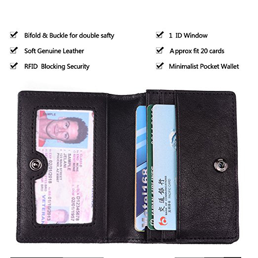RFID Blocking Credit Card Holder Leather ID Case for Men