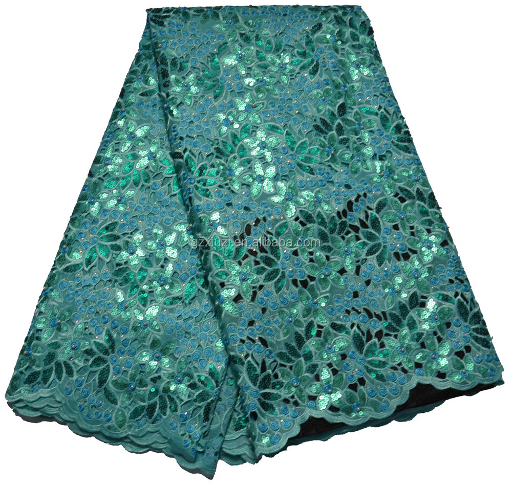 Teal Green Organza Fabric For Party, 2016 Latest Design Nigerian Lace Fabric For Wedding XZ1154100c