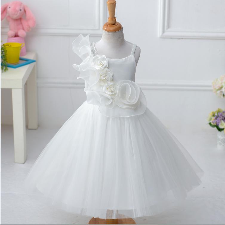Online Shop China Modern Elegant White Evening Small Baby Dresses ...