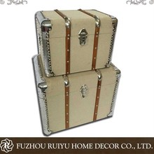 Alibaba Best Sellers Classical OEM wood storage trunk, new wooden home storage trunks, leather storage trunk
