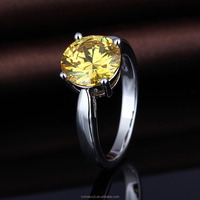 Yellow crystal engagement diamond ring for sale