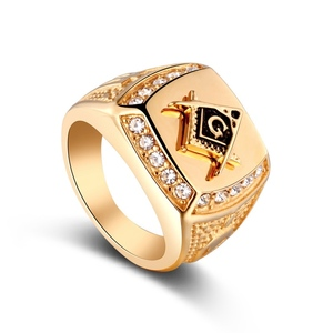 Custom Design Mens Brass Gold Freemason Cabochon Masonic Rings
