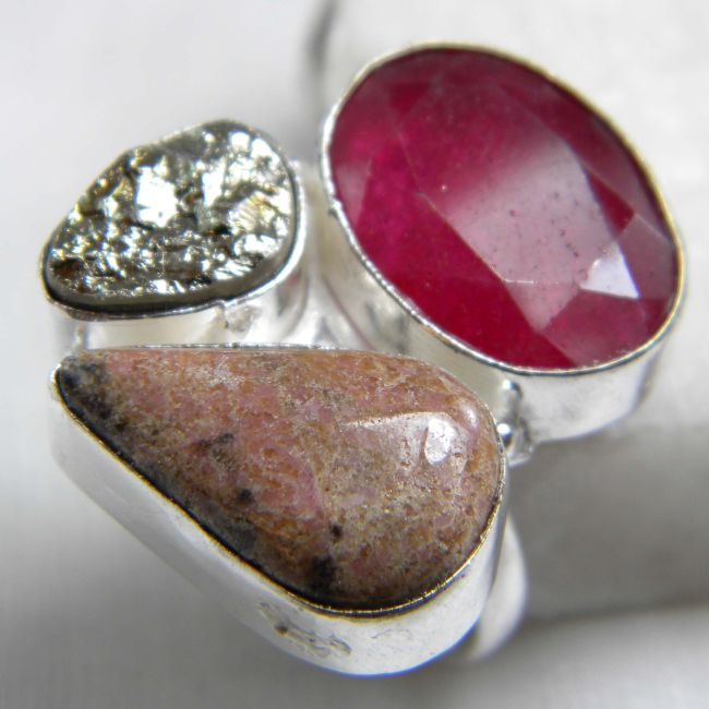 Ruby, Rhodocrosite, Pyrite Druzy Ring plated 925 Sterling Silver 10-15 Gms