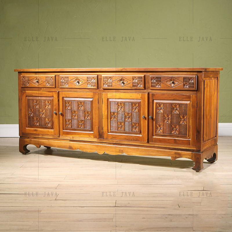 Hand Carving Teak Wood Four Door Four Drawers Side Cabinet