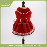 New Style Royal Pure Wool Lace Winter Apparel Christmas Princess Pet Dog Dress