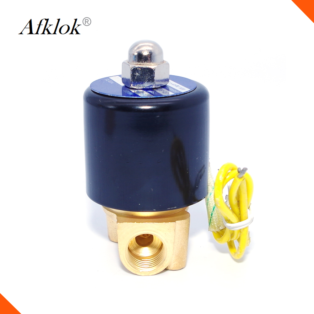 "Brass Direct Acting 2/2 way Normally Closed Air Water Oil 1/4"" 12volt 24vdc solenoid <strong>valve</strong>"