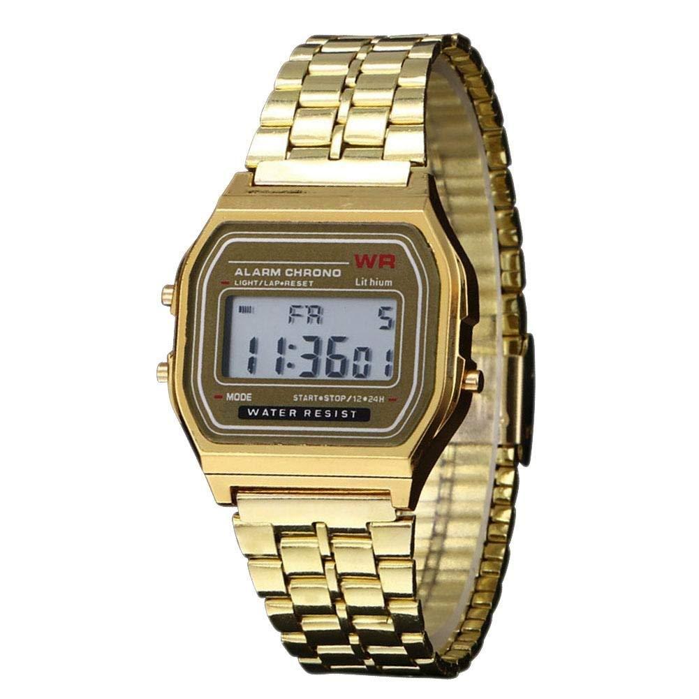 UNIhappy Vintage Men Women Stainless Steel Digital Alarm Stopwatch Watch Gold