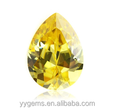 4x6mm Shining Gems CZ Cut <strong>Pear</strong> Polishing Yellow Cubic <strong>Zirconia</strong> Stone