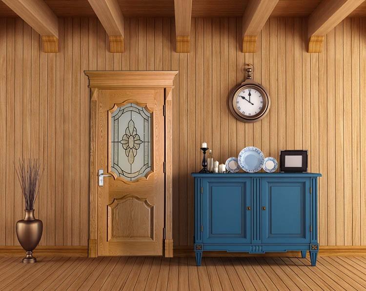 Entree ontwerp interieur glazen deur grote eiken front deuren hout