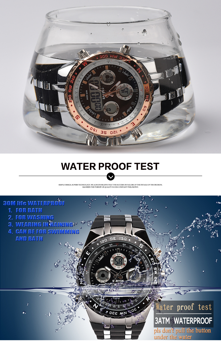 STRYVE Brand Sports Men Military Waterproof Watches Fashion LED Digital Watch male clock