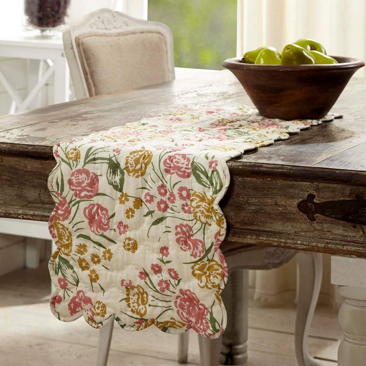 """13"""" X 48""""inch Green Pink White Burnt Gold Sage Creme Multi Colored Floral Patterned Table Runner, 1 Piece Flower Leaf Quilted Design Dining Table Linen Scalloped Edge Reversible Country Style, Cotton"""