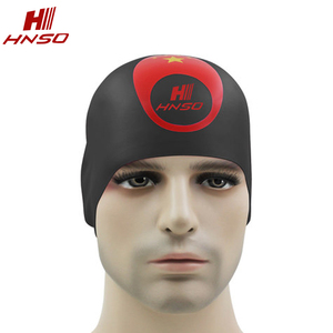 Customized national flag pattern caps waterproof silicone swimming caps with ear cover
